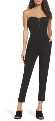 Women's Adelyn Rae Henley Strapless Jumpsuit $98 thestylecure.com