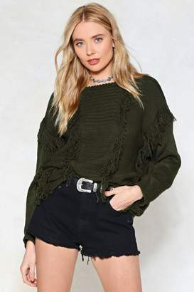 Nasty Gal Hang With Me Fringe Sweater