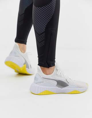 Puma Training Defy Sneakers In White And Yellow