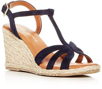 Andre Assous Women's Madina Suede T-Strap Espadrille Wedge Sandals