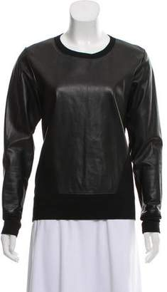 Helmut Lang Leather Trimmed Long Sleeve Sweatshirt