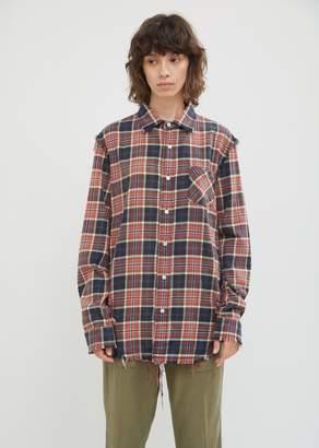 R 13 Shredded Seam Flannel Shirt