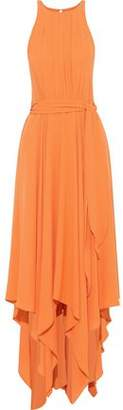 Halston Belted Cutout Crepe Gown