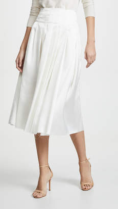 ANAÏS JOURDEN Satin Pleated Midi Skirt