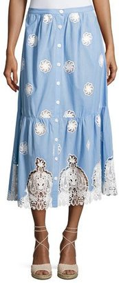 Miguelina Adrienne Versailles Midi Skirt with Lace, Blue $360 thestylecure.com