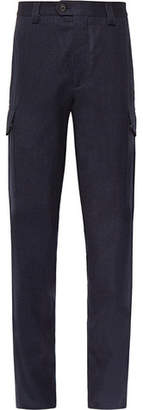 Brunello Cucinelli Wool-Flannel Cargo Trousers - Navy