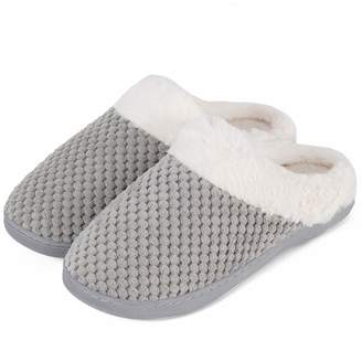 cb41b24ab6e WateLves Women s Slippers Comfort Memory Foam Coral Fleece Slippers Plush  Lining House Shoes for Indoor