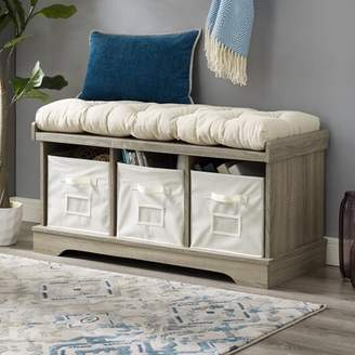 "Manor Park 42"" Transitional Modern Farmhouse Wood Entryway Storage Bench with Cushion and Totes - Gray Wash"