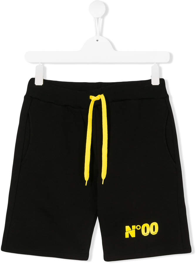 Numero00 Kids TEEN logo print track shorts