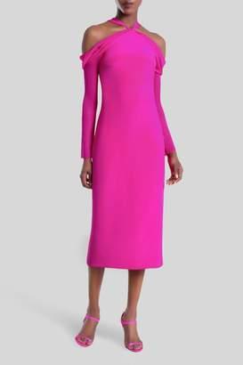 Cushnie Fuchsia Trubi Chiffon Sleeve Halter Dress