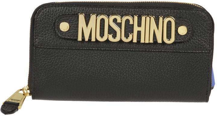 MoschinoMoschino Logo Plaque Zip Around Wallet