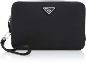 Prada Textured-Leather Wristlet Bag