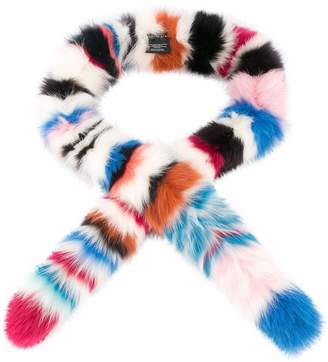 CHARLOTTE SIMONE striped fox fur scarf