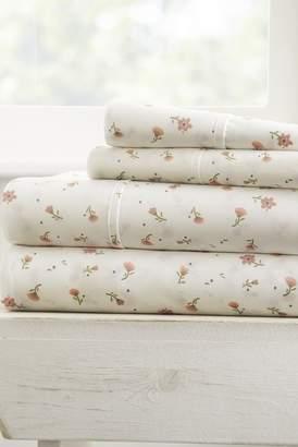 IENJOY HOME Home Spun Premium Ultra Soft Floral Pattern 4-Piece California King Bed Sheet Set - Pink