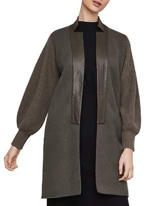 BCBGMAXAZRIA Faux Leather-Trim Long Cardigan