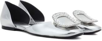 Roger Vivier Chips crystal-embellished metallic leather ballerinas