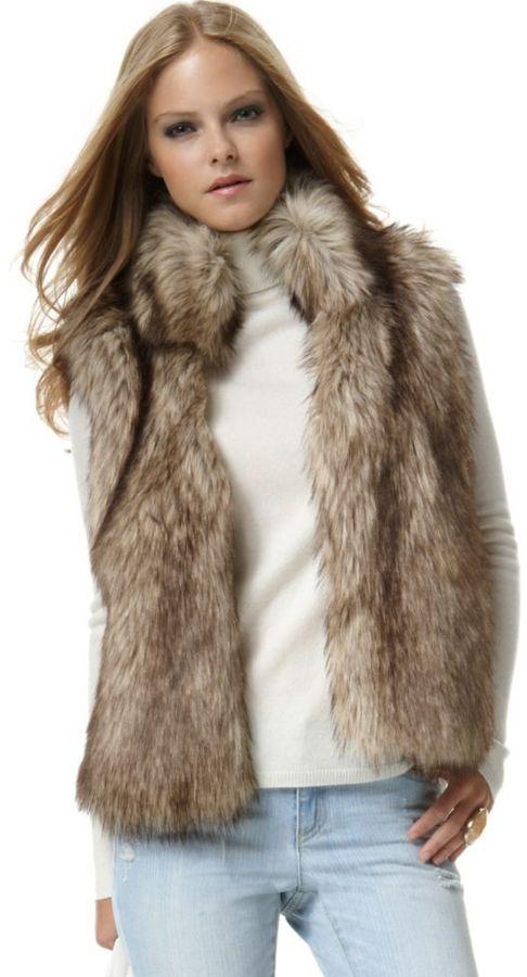 MICHAEL Michael Kors Vest, Faux Fur Open Front