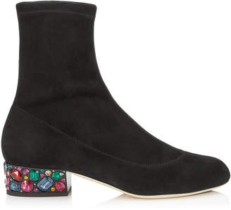 Jimmy Choo MAISIE 35 Black Stretch Suede Boots with Embellished Heel