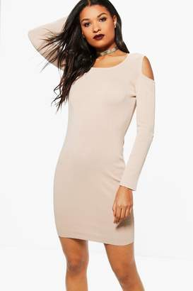 boohoo Ambrosia Cold Shoulder Ribbed Dress