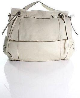 Designer Ted Benson Ivory Leather Shoulder Tote Hobo Handbag
