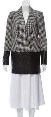 Rachel Zoe Leather-Accented Wool Coat