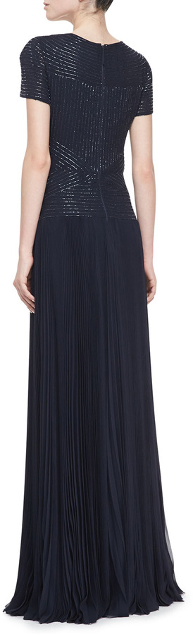J. Mendel Short-Sleeve Embroidered Pleated Gown, Navy