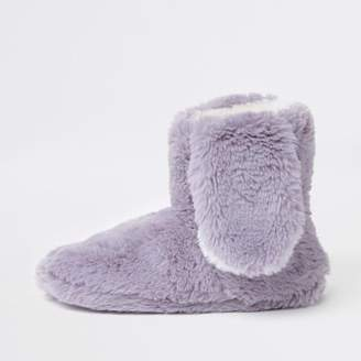 River Island Grey faux fur bunny ear boot slippers