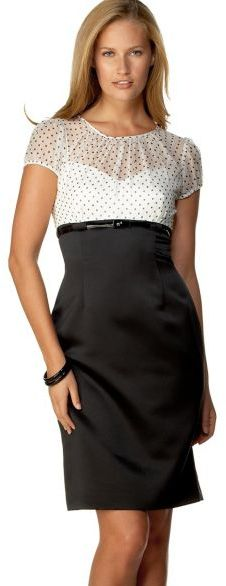 Tahari by ASL Cap-Sleeve Dress with Polka Dot Print