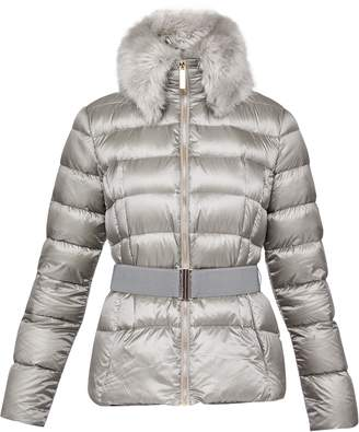 Ted Baker Junnie Faux Fur Collar Quilted Jacket