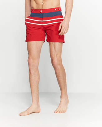 Solid & Striped Red Color Block Kennedy Swim Trunks