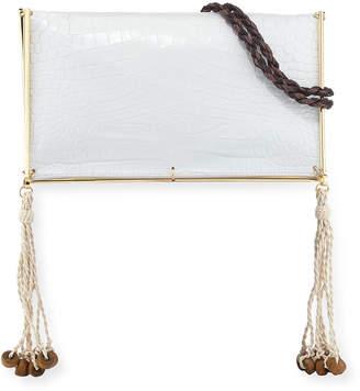 Elizabeth and James Wire Frame Crocodile-Embossed Boho Bag, White/Multi