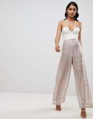 Asos DESIGN occasion wide leg PANTS with scatter glitter