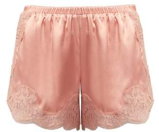 Dolce & Gabbana Lace Trimmed Silk Blend Shorts - Womens - Light Pink