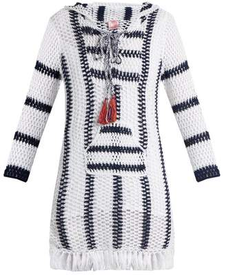 Anna Kosturova Cape Cod Striped Crochet Hooded Dress - Womens - Blue White