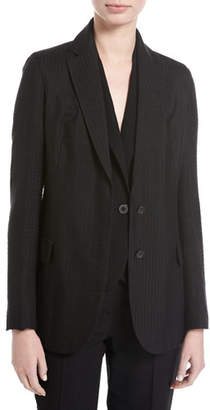 Akris Seersucker Silk-Wool Blazer, Black