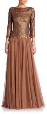 Tadashi Shoji Lace-Top Boatneck Gown $428 thestylecure.com