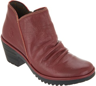 992a31c653 at QVC · Fly London Leather Ruched Ankle Boots - Wezo