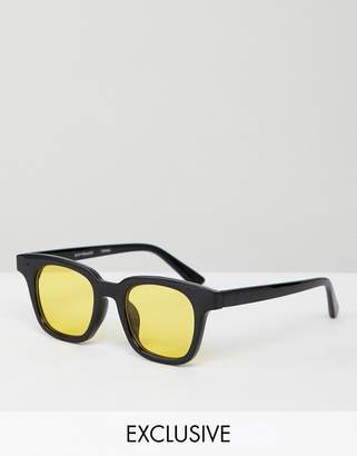 Reclaimed Vintage Inspired Square Sunglasses With Yellow Lens