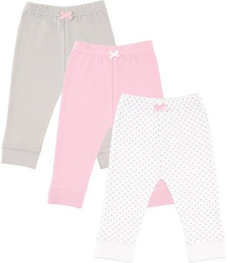 Luvable Friends Newborn Baby Girls' Tapered Ankle Pants 3-Pack, Choose Your Color & Size