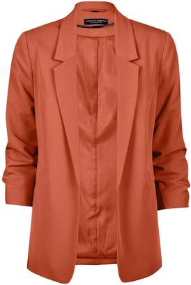 Dorothy Perkins Womens Brown Ruched Sleeve Jacket