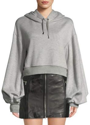 Jonathan Simkhai Cropped Bishop-Sleeve Pullover Hoodie Sweatshirt