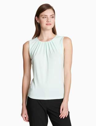 Calvin Klein solid pleat neck sleeveless top