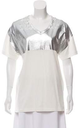 Maison Margiela Short-Sleeve SilverTone Top w/ Tags