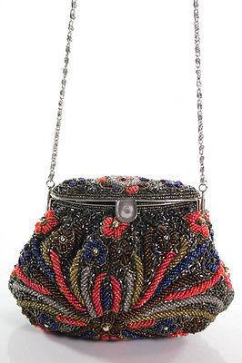 Designer Brown Beaded Flower Detail Shoulder Evening Handbag Size Small