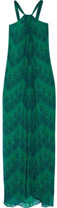 Diane von Furstenberg - Lilita Printed Silk-chiffon Maxi Dress - Green $400 thestylecure.com