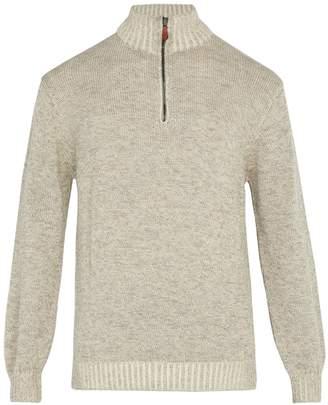 INIS MEÁIN Half-zip alpaca and silk-blend sweater