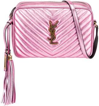 Saint Laurent Medium Monogramme Lou Satchel Bag in Vegas Pink | FWRD
