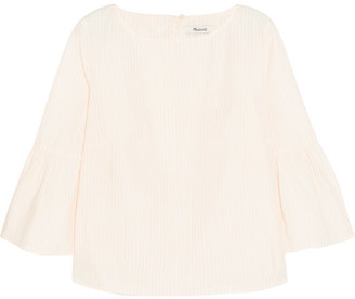 Madewell - Striped Cotton-poplin Top - Pastel pink $70 thestylecure.com
