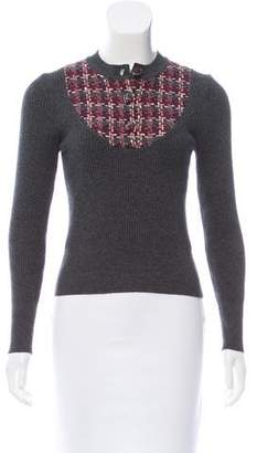 Chanel Tweed-Accented Cashmere Sweater