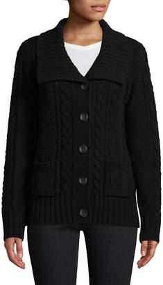 ST. JOHN'S BAY Long Sleeve U Neck Button Cardigan